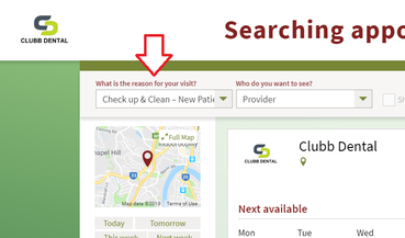 Online Booking page from Clubb Dental